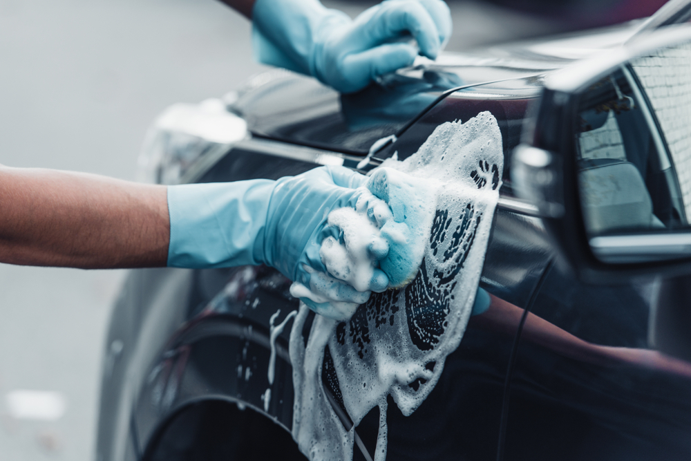 Exterior cleaning of a car